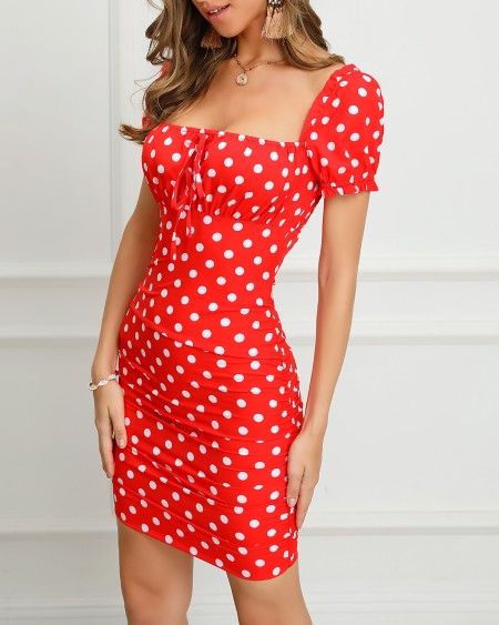 Dot Print Short Sleeve Ruched Bodycon Dress