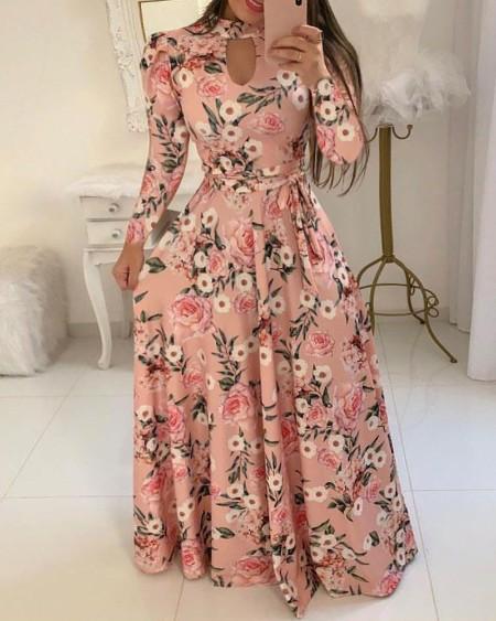 boutiquefeel / Long Sleeve Cutout Maxi Dress