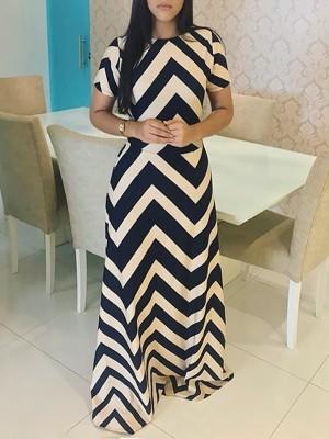 Chevron Stripe Short Sleeve Casual Maxi Dress