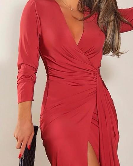 Solid Ruched High Slit Dress