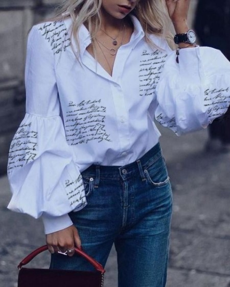 Letter Print Lantern Sleeve Casual Shirt
