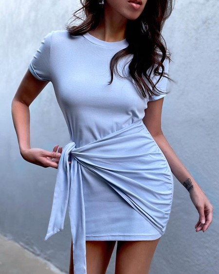 Short Sleeve Tied Detail Casual T-shirt Dress