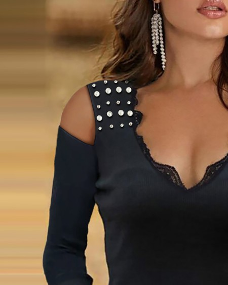 Beaded Cold Shoulder Lace Long Sleeve Top