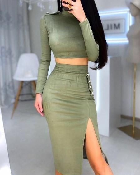 Solid Crop Top & High Slit Buttoned Skirt Set