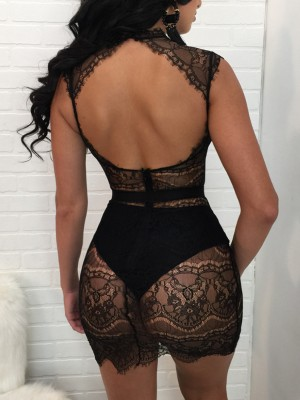 Sexy Cut Out Lace Crochet Mini Dress
