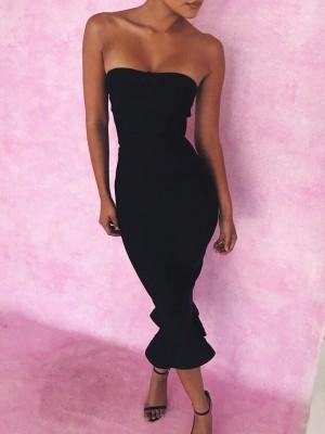 Strapless Mermaid Maxi Bodycon Dress