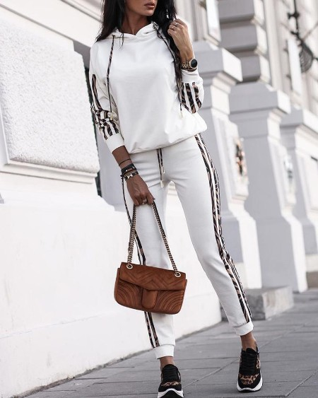 Striped Drawstring Design Hooded Top & Casual Pant Sets