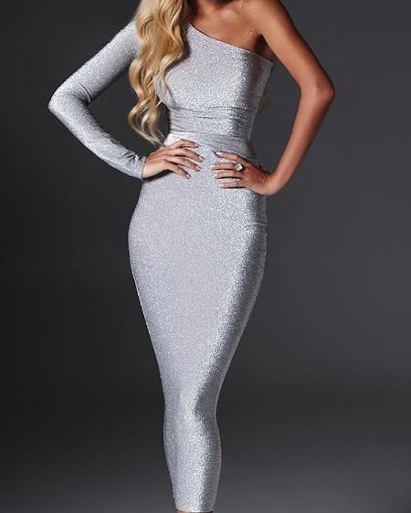 f4f31b9d290c Shiny One Sleeve Slinky Party Dress ...