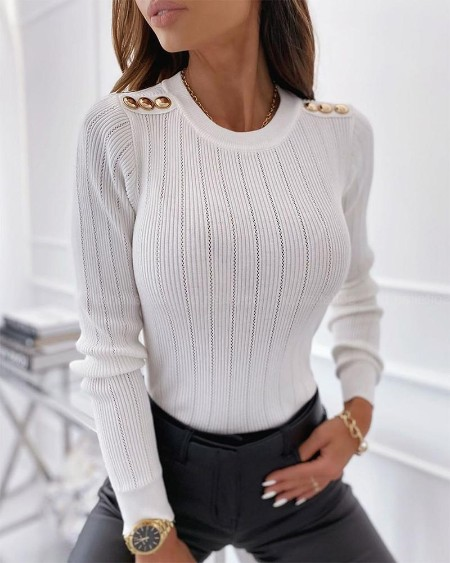 Solid Long Sleeve Slim Buttons Splicing Blouse