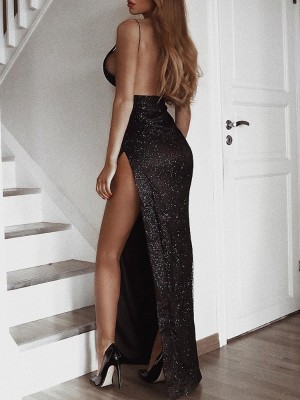 Backless Sequin High Slit Evening Dress