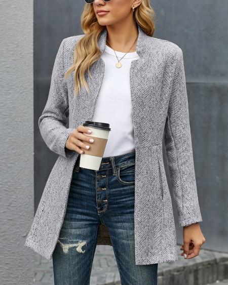Pocket Design Long Sleve Casual Coat