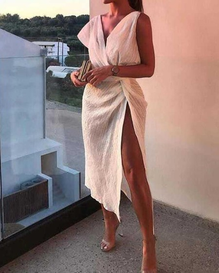 Scrunch Design Wrap Split Party Dress