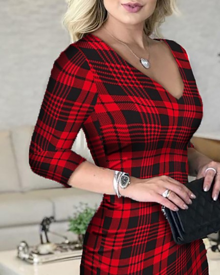 Plaid Plunge Long Sleeve Bodycon Dress