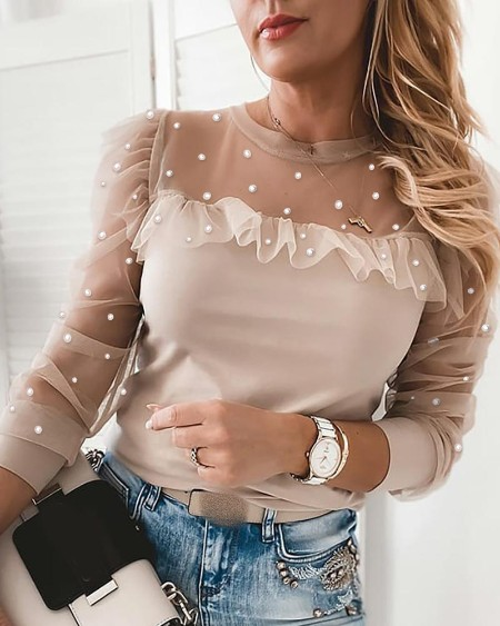 Beaded Sheer Mesh Ruffles Top