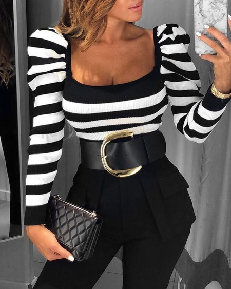 Striped Puff Sleeve Casual Blouse