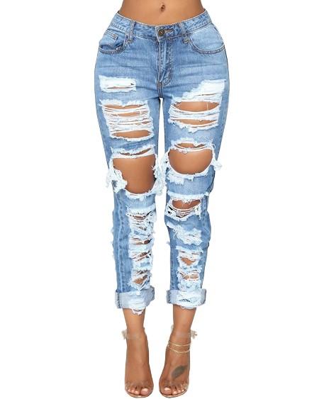 Ripped Cutout High Waist Jeans