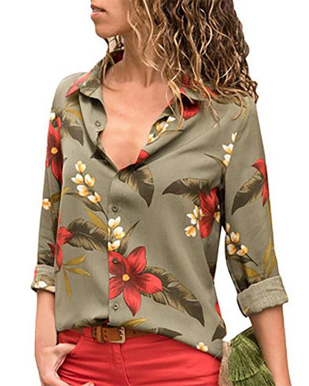 boutiquefeel / Floral Printed Turn-down Collar Shirt