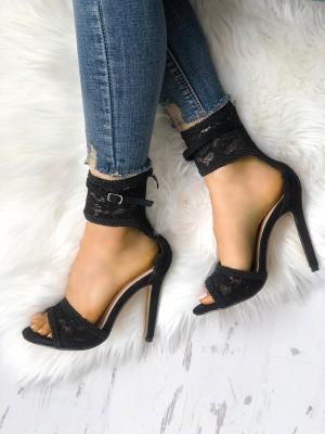 Open Toe Lace Buckle Thin Heel Sandals