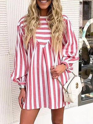 Striped Lantern Sleeve Smock Dress