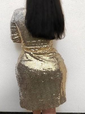 V-Neck Wrap Slit Sequin Party Dress