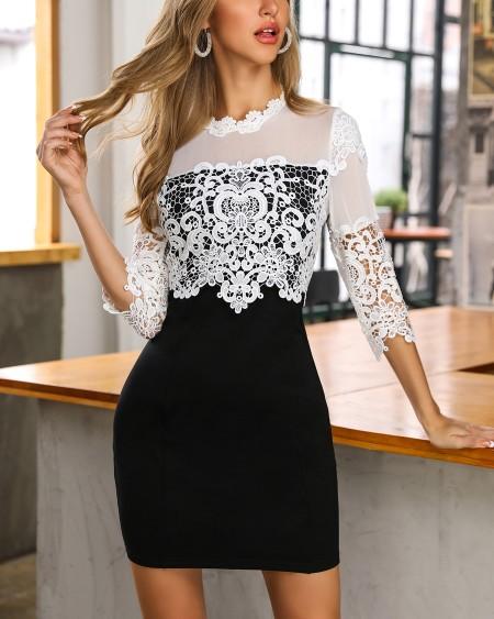 066cbbd05e Colorblock Crochet Lace Bodycon Dress ...