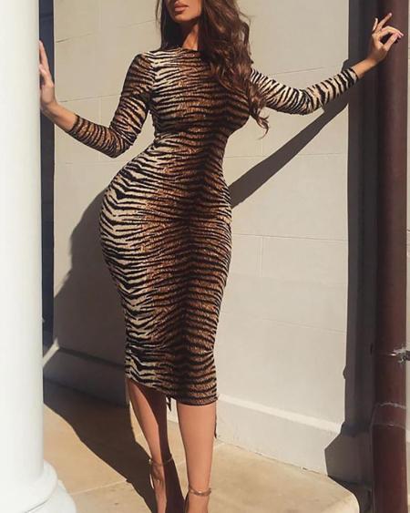 boutiquefeel / Animal Print Long Sleeve Slinky Dress