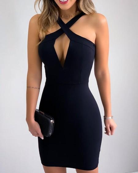 Crisscross Neck Bodycon Dress