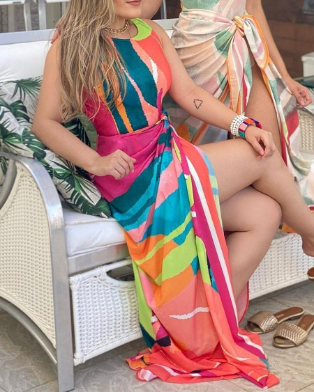 Colorblock One Piece Swimsuit With Cover Up