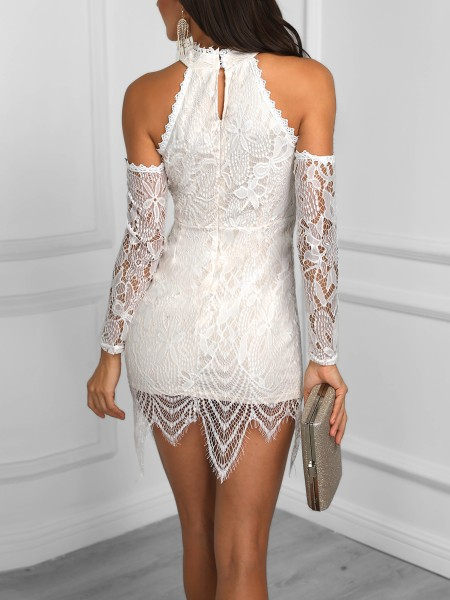 Eyelash Lace Cold Shoulder Party Dress