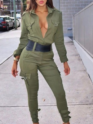 Stylish Pocket Buckles Design Jumpsuit