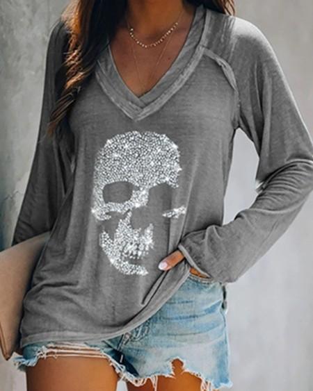 Studded Long Sleeve Casual T-shirt