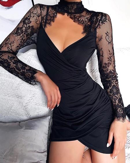 Eyelash Lace Ruched Cutout Dress