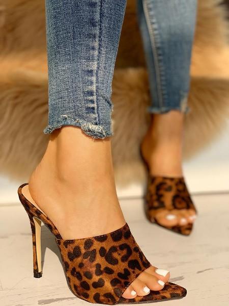 Leopard Open Toe Thin Heeled Sandals