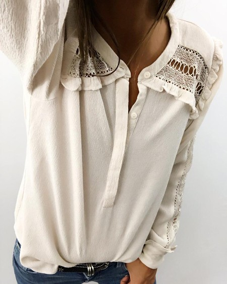 Hollow Out Lace Insert Casual Shirt