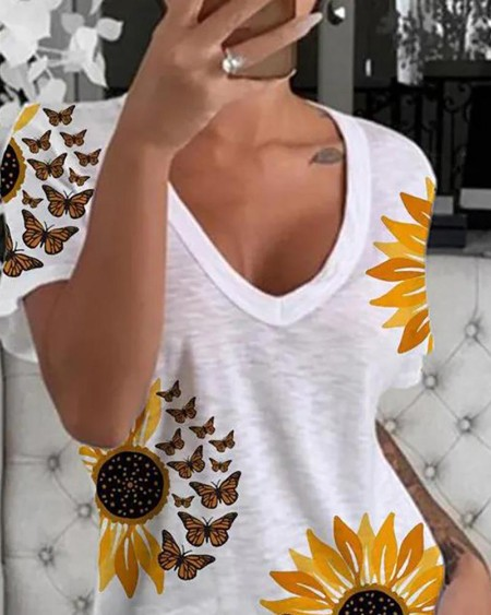 Sunflower Butterfly Print Short Sleeve Casual T-shirt