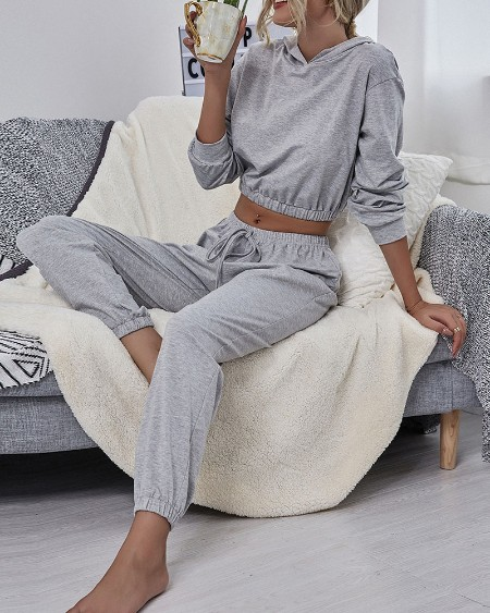Solid Long Sleeve Loose Hooded Sweatshirt With Sweatpants Suit Sets