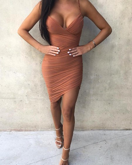 Spaghetti Strap Ruched Irregular Bodycon Dress