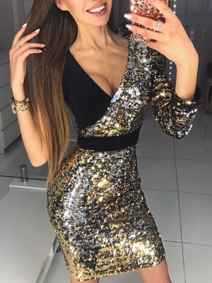 Sequins Deep V Splicing One Shoulder Bodycon Dress