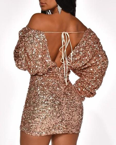 Sequins Bardot Deep V-Neck Dress