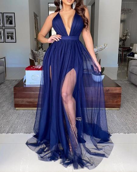 Sheer Mesh Plunge High Slit Evening Dress