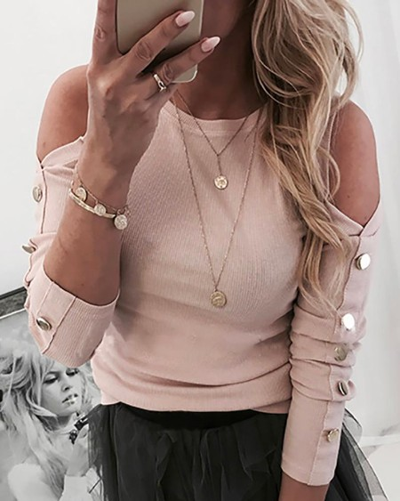Cold Shoulder Buttoned Long Sleeve Casual Blouse