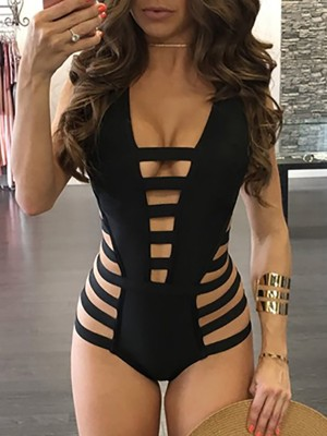 Solid Bandage Cut Out Deep V Neck One-piece Swimwear
