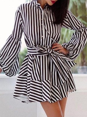 Striped Puff Sleeve Belted Pleated Shirt Dress
