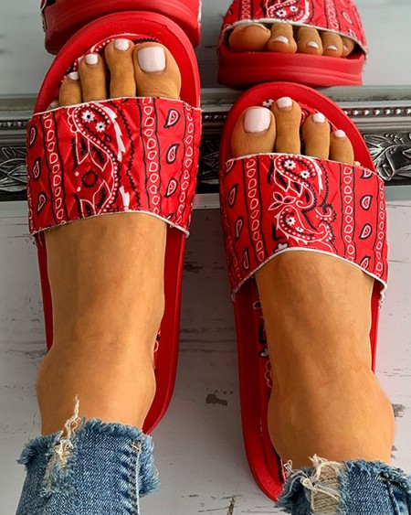 Paisley Print Open Toe Casual Flat Sandals