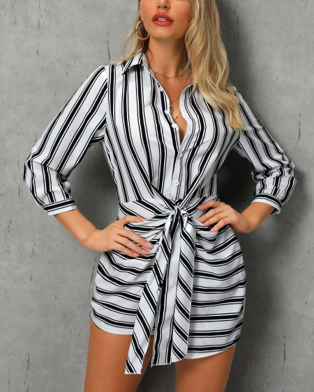 Striped Knotted Front Shirt Dress