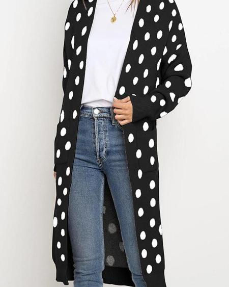 boutiquefeel / Polka Dot Open Front Casual Cardigan