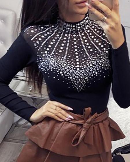 Studded Long Sleeve Blouse