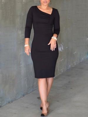 Asymmetric Neckline Plain Bodycon Dress