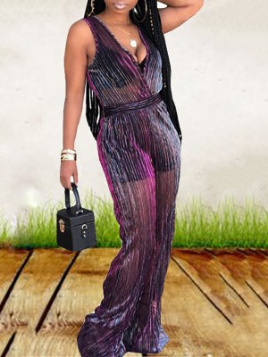 Sheer Mesh Sleeveless Flared Jumpsuit