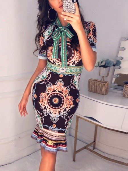 Retro Print Tie Neck Dress